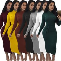 Wholesale Exotic White Club Dresses - 2017 Hot Sale Exotic designer bandage dress women turtleneck full sleeve pencil dress autumn black knitted mid-calf dress
