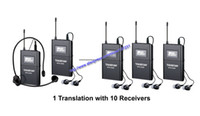 Wholesale Takstar Wireless Mic - Takstar WTG-500 UHF Wireless Acoustic Transmission System Tour Guiding Simultaneous Translation Audio 1 transmitter+10 receivers With mic