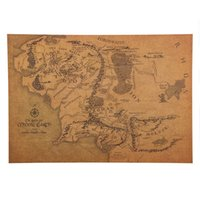 Wholesale Poster Earth - 1 Pcs The Rings Middle Earth Map The Retro Kraft Paper Poster Movie Posters Bar Decoration Wall Sticker