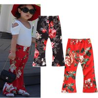 Wholesale Toddler Floral Boots - INS Baby Girls Floral Long Pants Kids Casual Printed Trousers Boutique Toddler bell-bottoms Autumn Summer Flower Pants