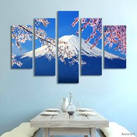 Wholesale Oil Painting Mountains Landscape - 5 Panel Fujiyama Snow Mountain Sakura Japan Landscape Picture Painting Canvas Print Home Decoration Picture for Living Room