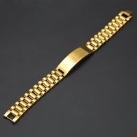 Wholesale Crown Rings For Men - Hip Hop Jewelry 21cm*1.5cm Gold Plated Punk Stainless Steel Strap Bracelets Crown for Men President Style