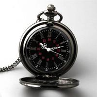 Wholesale Tungsten Watch Chain - Retro Vintage Antique Steampunk Quartz Necklace Pendant Pocket Watch Black New H210975