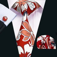 Wholesale Red Leaves Plant - Fashion Plant Leaves Mens Silk Ties Mix Color White Red Business Tie Set Include Tie Cufflinks Hankerchief Necktie N-1210