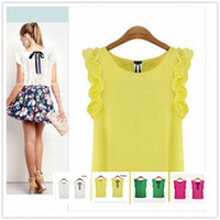 Wholesale Wholesale Lace Shirts - Women's Lotus Leaf Round Neck Pullover Chiffon Lacing Shirt Female Bow Top Blouses 2017 New Fashion White and Yellow Color For Choices