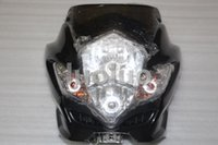 üst ön cila toptan satış-Yeni Siyah Sokak Fighter Ön Üst Fairing Motosiklet Far Lambası Motosiklet Özel XJ GPZ CB GSR Ücretsiz Nakliye Için