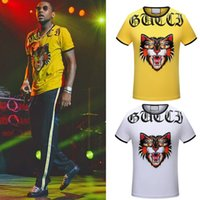 Wholesale Top Designs For Neck - Embroidery Cat Head T-Shirt Men Hot Sale NEW Design Tee Male Printed Letter Elastic Cotton S S Top For Male