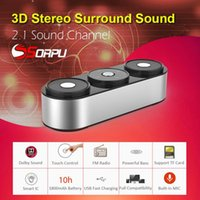 Wholesale Bass Products - 2017 Newest Product 2.1 Channel Powerful Bass Stereo Wireless Bluetooth Speakers With Microphone FM Radio TF Card Play Touch Control Speaker