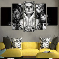 Wholesale Wall Paintings Without Frames - Home Decor Sugar Skull Girl 5 Piece Picture Painting Wall Art Room Decor Poster Wall Decor Canvas Gift Painting without Frame
