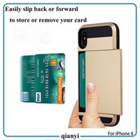 Wholesale Wholesale Champagne Cases - For iphone X 8 7 and 7 plus 6S Samsung Galaxy note8 and S8 plus S8+ S7 edge S6 Sliding card phone case TPU+PC cell phone case