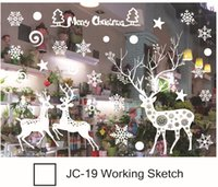 Wholesale outdoor window christmas decorations - Christmas window stickers Snowflake Santa reindeer window display without glue electrostatic incognito christmas outdoor decorations