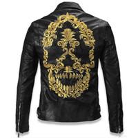 Wholesale Punk Rock Leather Jacket Men - Fall-Luxury Italian Embroidered Skull Black Leather Jacket Men Motorcycle Vintage Punk Rock Leather Jacket Men Biker Pu Coats