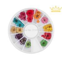 Wholesale Dry Flower Wheel - 12 Color 3d flower nail art Dried Dry Flower Nail Art Wheel Decoration Manicure Tips nail art product nail art wheel