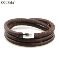Wholesale Magnetic Clasps For Leather Braids - Leather Bracelet for Women Trendy Fashion Braided Rope Chain with Magnetic Clasp Bow Charm Leather Bracelets & Bangles for Women Men Jewelry