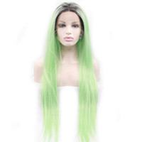 Dark Roots Mint Green Ombre Lace Front Perruque Synthétique Glueless Two Tone Partie moyenne Long Straight Wigs For Women