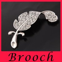 Wholesale Silver Articles Wholesale - South Korea joker is small adorn article Sweet brooch with drill leaves Both men and women pin