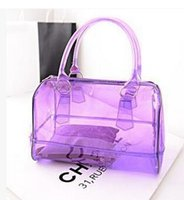 Wholesale Plastic Beach Totes - Whole sale Fashion women candy color transparent bag Clear beach bags PVC leather bag shopping bag Handbag Tote Purse PVC Plastic 9 colors
