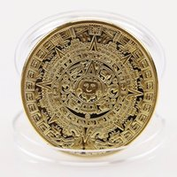 Wholesale Aztec Calendar Coin - 2017 Hot New Qrrival 2 Colors Gold Sliver Plated Mayan Aztec Calendar Souvenir Commemorative Coin Collection Gift Holiday Decoration