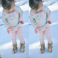 Wholesale winter baby sweatshirt set - high quality baby girls suits Floral hoodies cute kids girl Long Sleeve Sweatshirt+fashion striped Pants Outfits 2PCS Hooded Clothes top Set
