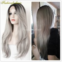 Wholesale White Women Human Hair Wigs - Fedex Free Shipping Ombre 1B Grey Lace Front Wig Natural Human Silver Grey Peruvian Front Lace Wig Hair Wigs For Black White Women