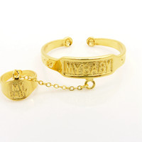 braceletes de bebê de ouro 18k venda por atacado-MEU BEBÊ Bangle 18k Yellow Gold Filled Adorável Baby Cuff Bangle + Anel