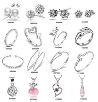 Wholesale China Wholesale Crystal Wedding - Top Grade Silver Jewelry Sets Fashion Hot Sale Crystal Bracelets Earrings Necklaces Rings for Women Girl Gift Wholesale Free 0002ERBN
