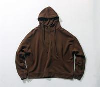 Wholesale Hoody Zip Sleeve - Dont miss out!! Season 1 half zip oversize Hoodies hip hop Streetwear vintage wash Hoody Kanye west