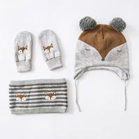 Wholesale Handmade Crochet Earmuff - Wholesale Little Fox Embroidery Cotton Baby Hat +Scarf+Gloves Set Crochet Baby Beanies Kids Fall Winter Cap Handmade Windproof Earmuff Cap