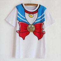Wholesale Yellow Sailor Moon Costume - Wholesale- new Hot Sailor moon harajuku t shirt 2017 women cosplay costume top kawaii fake sailor t shirts girl new Free Shipping SALMOPH