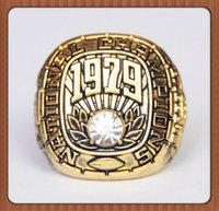 Wholesale Rings Tide - Free Shipping For 1979 Alabama Crimson Tide NCAA National Championship Ring Solid Souvenir Sport Ring Gold Plated Alloy Rings For Men