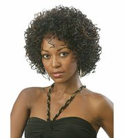 Wholesale Wigs Shipping Europe - Europe America and African lady synthetic wigs with Natural Color fluffy short bangs free shipping