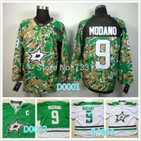 Wholesale Nhl Shirts - 2016 new cheap NHL Dallas Stars 9 Mike Modano camo white green ice hockey jersey shirt sportswea