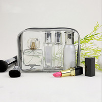 Wholesale Clear Plastic Makeup Bags - New Fashion Clear Toiletry Makeup Bags PVC Plastic Travel Cosmetic Bag with Zipper Portable Designer Cosmetic Pouch