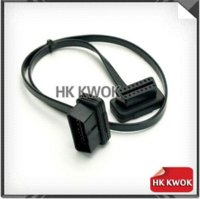 Wholesale Elm Obd Cable - 2014 Free DHL EMS 100pcs Connector Cables Flat Thin As Noodle OBDII OBD 2 16Pin Male to Female OBD2 ELM 327 Extension Cable M45694