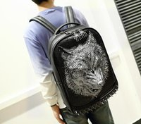 Wholesale Body Trends - Factory sales brand male package personality street style 3D Wild Langtou mens backpack trend of high-grade Pu rivet brand Backpack