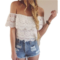 Wholesale Lace Crochet T Shirt Color - 2016052935 2016 Summer Blouse Women Lace crop tops Hollow Out Crochet Off Shoulder Top White T-shirt Tee Shirt Femme Camisetas Mujer