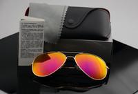 солнцезащитные очки линзы оптовых-Высокое качество поляризованные линзы пилотные модные солнцезащитные очки для мужчин и женщин Марка дизайнер старинные спортивные солнцезащитные очки с футляром и коробкой