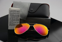 Wholesale Yellow Sunglasses Lenses - High quality Polarized lens pilot Fashion Sunglasses For Men and Women Brand designer Vintage Sport Sun glasses With case and box
