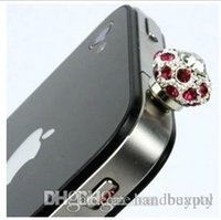 Wholesale Dustproof Plug Crown - Wholesale New 3.5mm crystal rhinestone Nest crown Dust plug Earphone Jack Dustproof Cover for iPhone 5 4 4S all phones RJ1513 0416dd