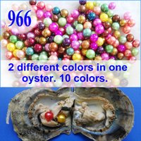 Wholesale Red Pearl Free - 10 PCS free shipping Love wish pearl oyster round colored TWINS pearl in oyster with vacuum-pac