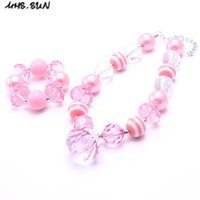 MHS.SUN Baby Pink Color Kid Chunky NecklaceBracelet Set Pingente de moda Crianças Girl Toddler Bubblegum Chunky Bead Necklace Jewelry Set