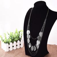 Wholesale long leaf pendant necklace - Wholesale-Bohemian Style Leaf Pendant Necklace Long Sweater Chain Statement Necklace