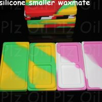 Wholesale pad organizer - free shipping small wax pad wholesale Nonstick Wax Containers 6 in 1 titanium nail silicone small wax mate pad fit glass pipes