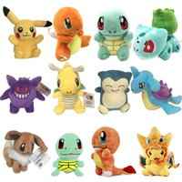 Barato Video 13-Poke Brinquedos de peluches Pikachu Umbreon 13-20cm Bonecos de pelúcia Bonecas de bolso Cartoon Bulbasaur Squirtle Charmander Doll Gift OTH561