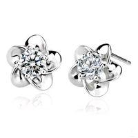 Wholesale Silver Stud Flower Earings Wholesale - Stunning Plum blossom Crystal Earrings 30% 925 Sterling Silver imitation Diamond rose flower Stud earings Cheap fashion Jewelry for women
