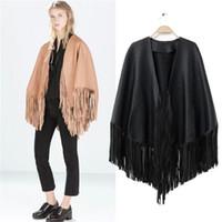 Wholesale Suede Fringe Coat - Wholesale-Fashion women Faux Suede Leather Fringe Tassel Jacket Long coat Cardigan casual brand chaquetas mujer Cloak fr230