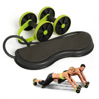 Wholesale Hand Grip Trainer - Wholesale-free shipping 2016 Gym Fitness AB Rollers Four Wheels Exercise Core Pull Rope Abdominal AB Trainer Waist Slimming Workout Wheel