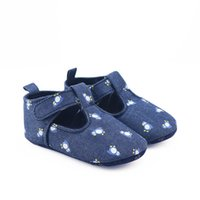 Wholesale Wholesale Western Shoes - Everweekend Girls Penguin Print Denim Shoes Sweet Baby Non-slip Lovely Kids Western Korean Fashion Spring Autumn Shoes