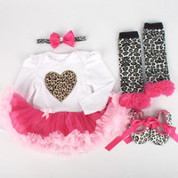 Wholesale Infant Socks Cotton Lace - Cartoon Newborn Girls Leopard Rompers Infant Hairband + Rompers + Shoes + Socks 4pcs Set Baby Girls Christmas Clothing Sets