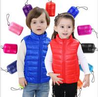 chaqueta sin mangas de bebe al por mayor-2016 nuevos chaleco de los niños calientes sin mangas costo ultra ligero abrigo cálido deporte al aire libre niños chaqueta exterior para 2-7 años de edad bebé